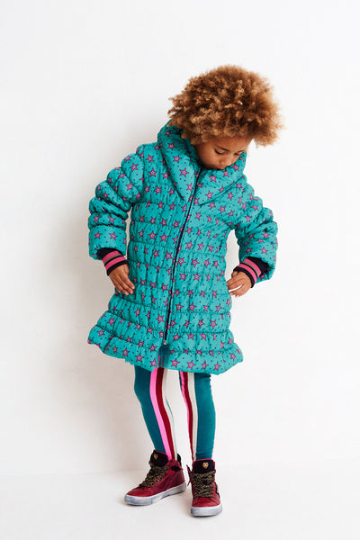 Mayoral Older Girls Bottle Green Long Coat with Fur Hood