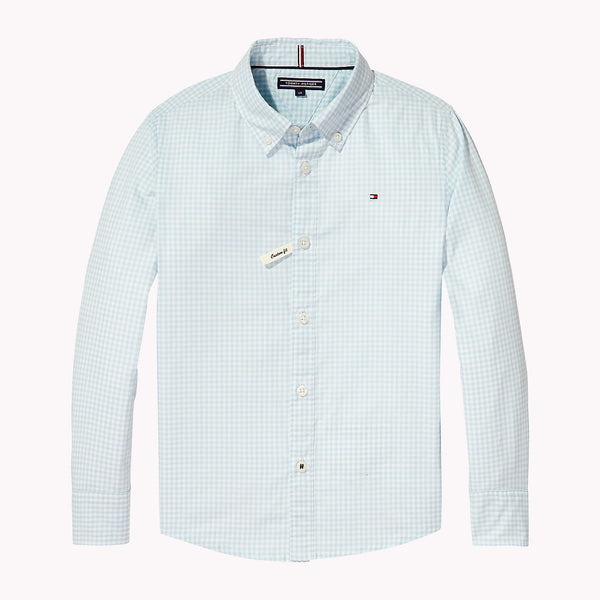 SS18 Tommy Hilfiger Boys Turquoise Blue & White Gingham Shirt