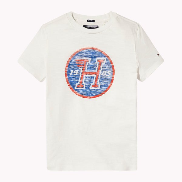 SS18 Tommy Hilfiger Boys White Distressed Logo T-Shirt