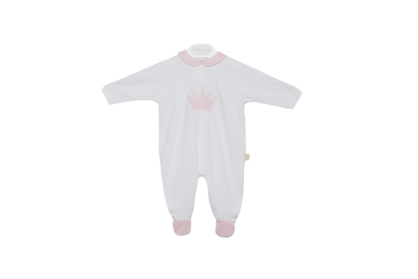 Baby Gi Baby Girls White & Pink Crown Print Velour Babygrow