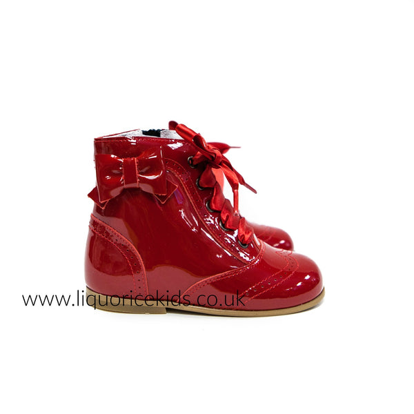Andanines Girls Red Victorian Patent Boot with Bow Detail - Liquorice Kids