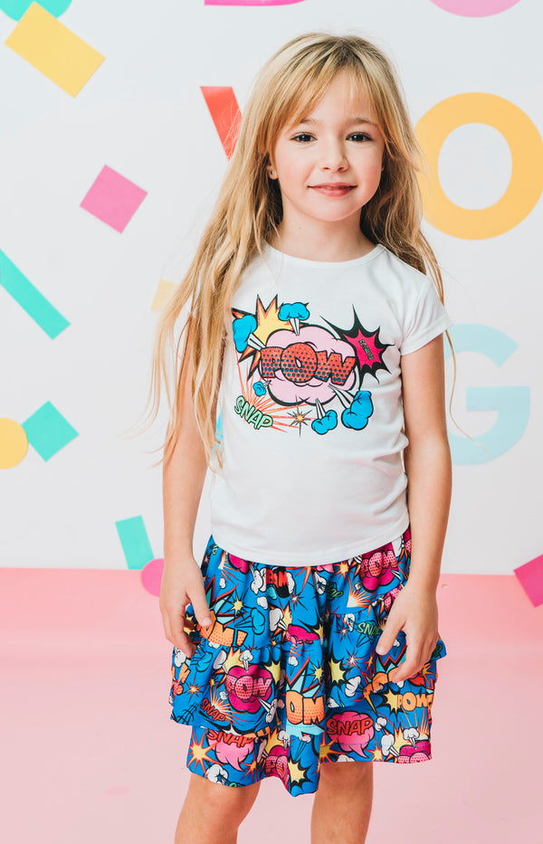 SS20 Rosalita Girls Matre Pop Art 'Pow' Skirt Set