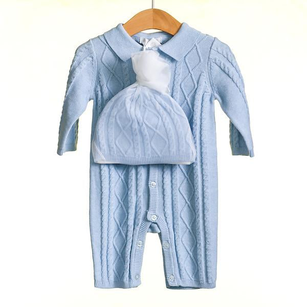 AW18 Zip Zap Baby Boys Blue Cable Knit Romper MM0216