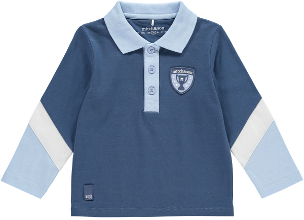 AW18 Mitch & Son Boys Preston Blue Diagonal Sleeve Polo