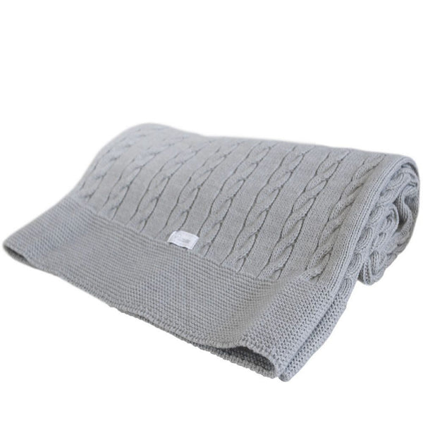 Uzturre Grey Knitted Blanket