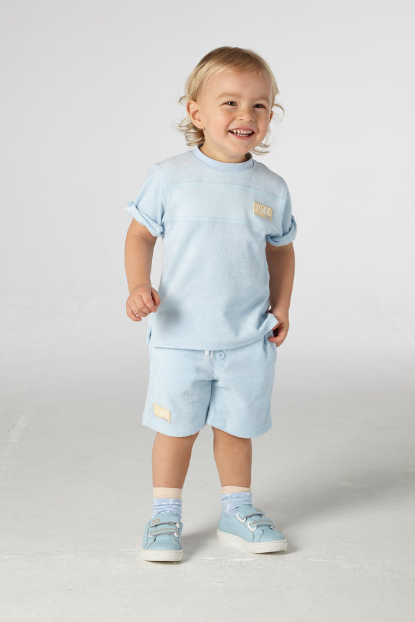 SS21 Mitch & Son Boys Bridgegate Towelling Blue Short Set