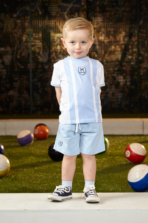 SS19 Mitch & Son Boys Nicholas Pale Blue & White Shorts Set