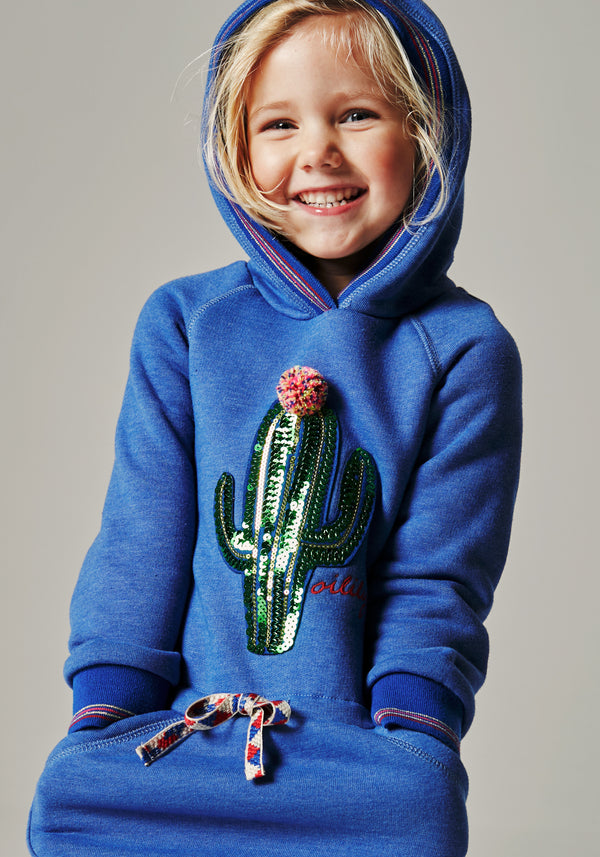 AW18 Oilily Girls Haxi Sweat Dress 53 Blue With Cactus