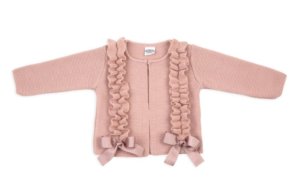 SS19 Rochy Girls Dusky Pink Bow Cardigan P04174