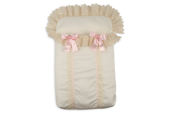 Rochy Cream Lace & Pink Bow Baby Nest