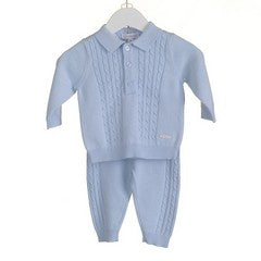 AW18 Zip Zap Baby Boys Blue Cable Knit Set PP0150