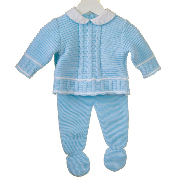 AW18 Zip Zap Baby Boys Blue Cable Knit Set PP0200