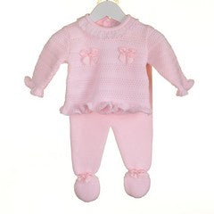 AW18 Zip Zap Baby Girls Pink Knitted Bow Set PP0202