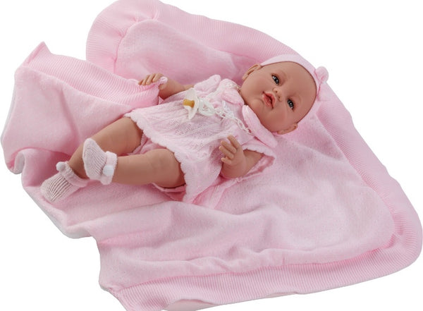 Berbesa Baby Girl Spanish Doll & Pink Knitted Blanket