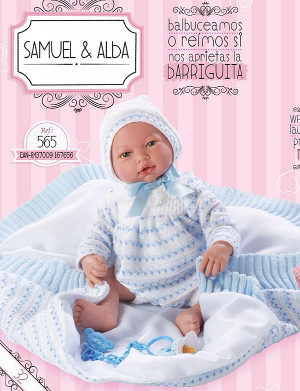 Spanish Baby Boy Doll With Knitted Blue & White Set & Blanket 566
