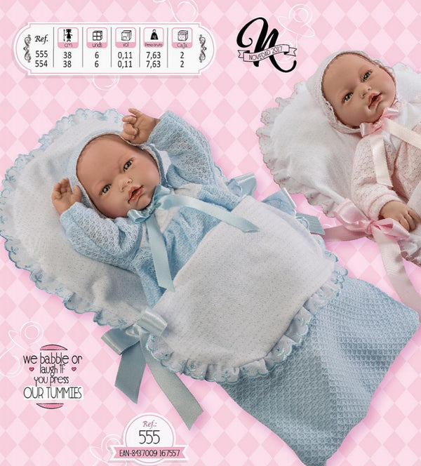 Spanish Baby Boy Doll With Blue & White Sleeping Nest 555