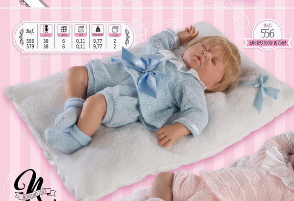 Spanish Baby Boy Doll With Blue Knitted Set & Pillow 556