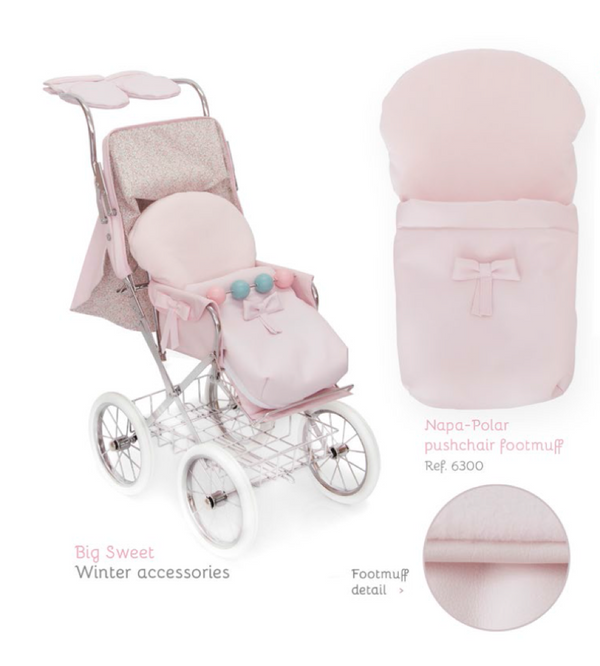 BebeLux Spanish 'Sweet Big' Doll's Pram In Pale Pink -WINTER SET