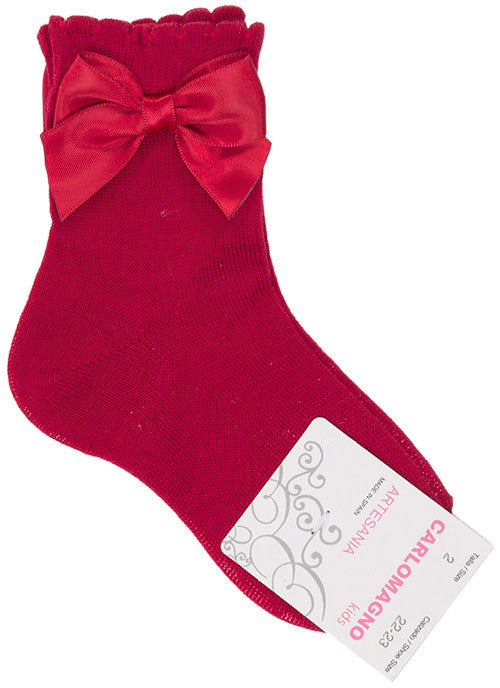 Carlomagno Red Single Bow Ankle Socks - Liquorice Kids