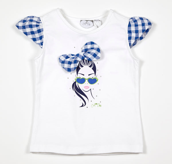 SS18 A*Dee Girls Tabby Check Bow Girl T-Shirt