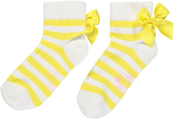 SS20 A Dee Girls Bea Falling Roses Lemon Stripe Ankle Socks