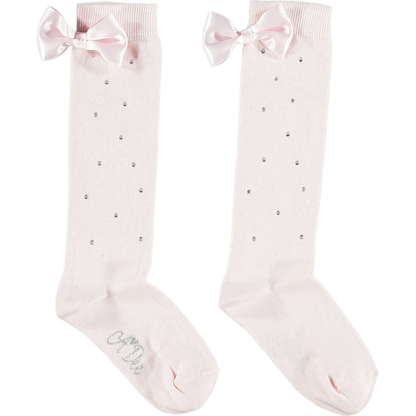SS21 A Dee Girls Othina Pink Sparkle Knee High Socks