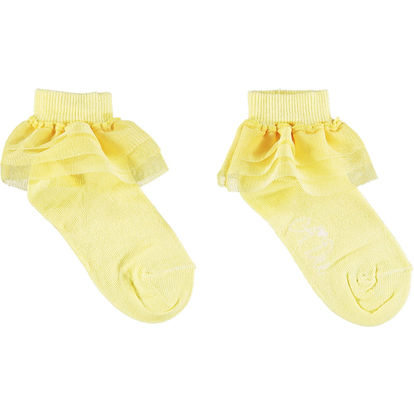 SS21 A Dee Girls Osaka Lemon Frilly Ankle Socks