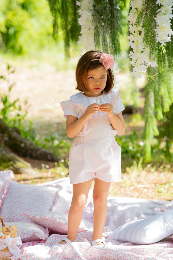SS20 Patachou Girls Pink Romper & Blouse Set