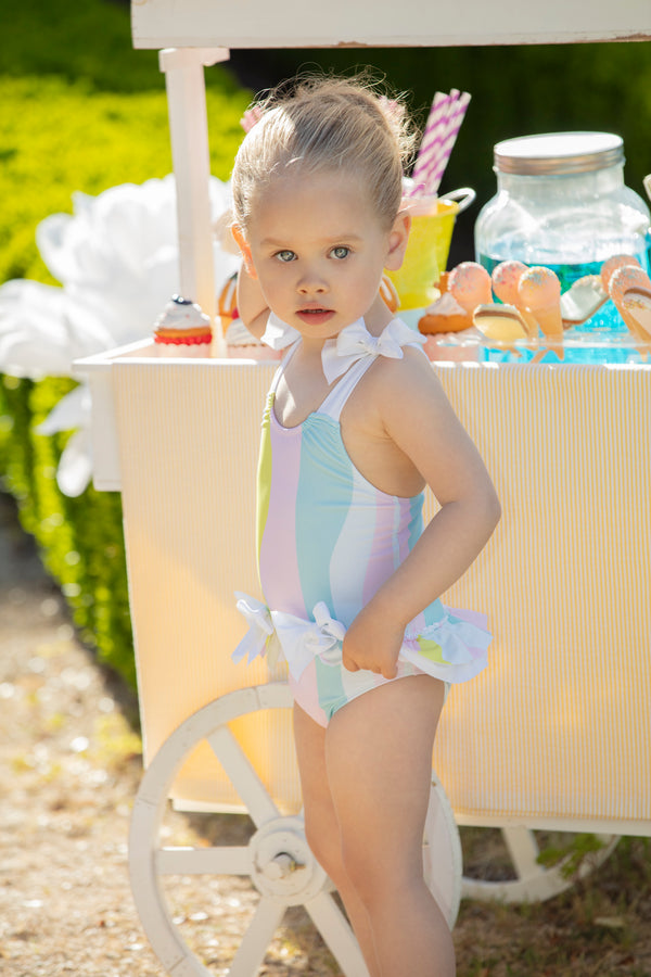 SS20 Patachou Girls Candy Stripe Swimming Costume