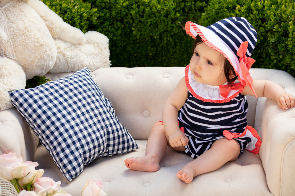SS20 Patachou Baby Girls Navy Blue & White Stripe Two-Piece Set