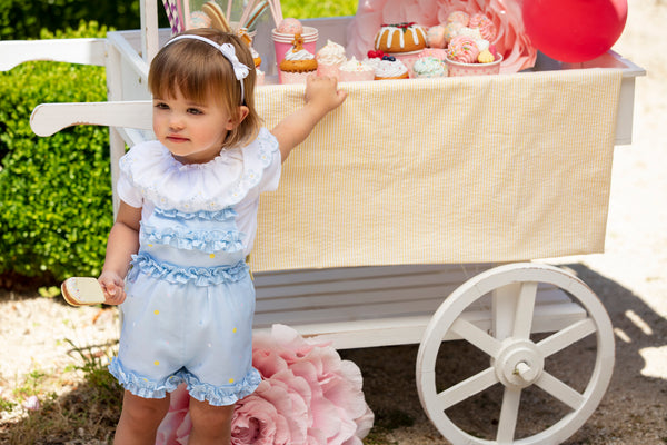 SS20 Patachou Girls Blue & Yellow Playsuit & Embroidered Top Set