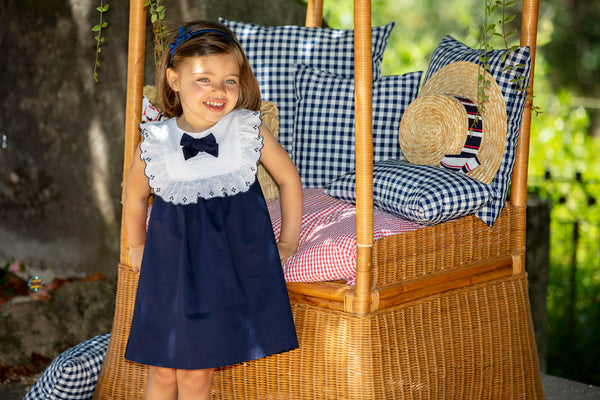 SS20 Patachou Girls Navy Blue Bow Dress