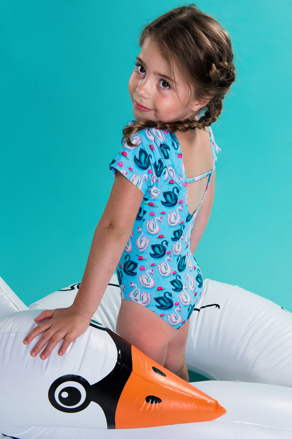 SS19 Mim-Pi Girls Swan Swimming Costume 237