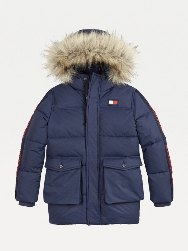 AW20 Tommy Hilfiger Boys Navy Blue Hooded Down Parka Coat