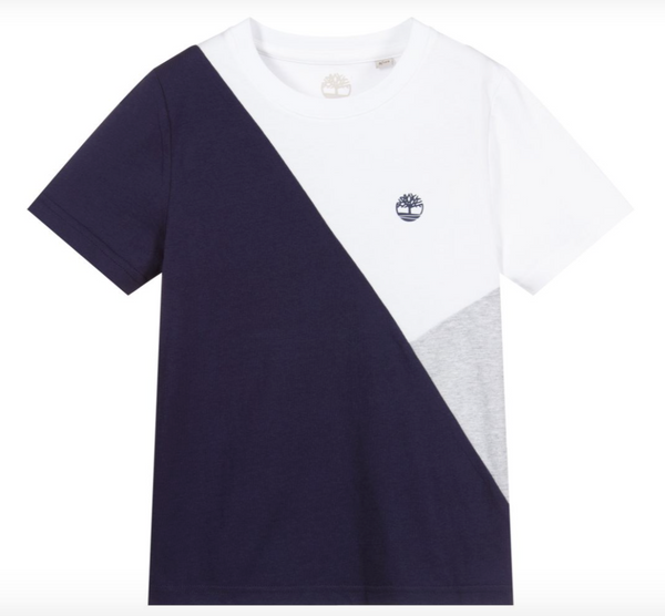 PRE-ORDER SS21 Timberland Boys Navy Blue, White & Grey T-Shirt