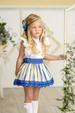 SS21 Miranda Girls Blue & Yellow Stripe Skirt Set 250-2F