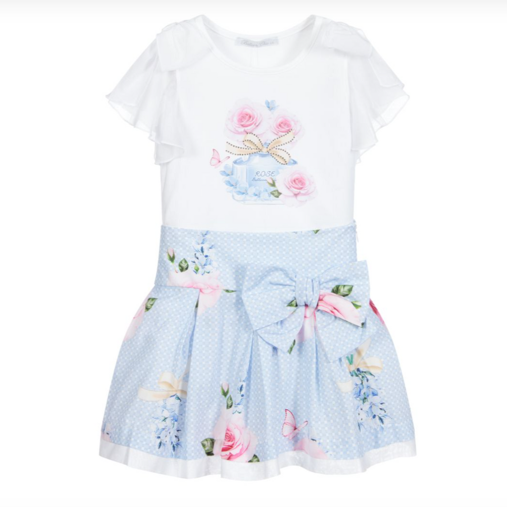 SS21 Balloon Chic Girls Lilac Blue Rose Perfume Skirt Set