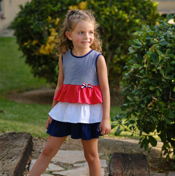 SS21 Tutto Piccolo Girls Navy Blue, Red & White Dress 1244