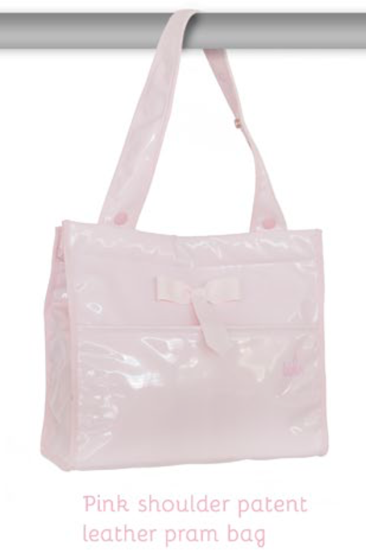 Spanish Pale Pink Patent Changing Bag For Dolls 'Prams'