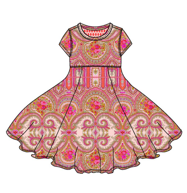 SS19 Oilily Girls Theildy Short Sleeve Jersey Dress 35 Paisley Pink Brown