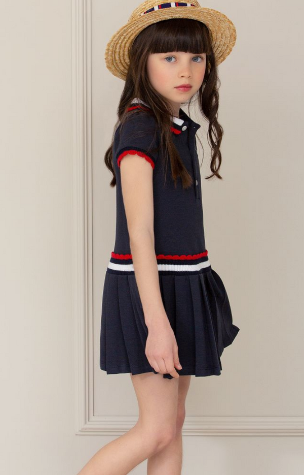 SS20 Patachou Girls Navy Blue Polo Dress
