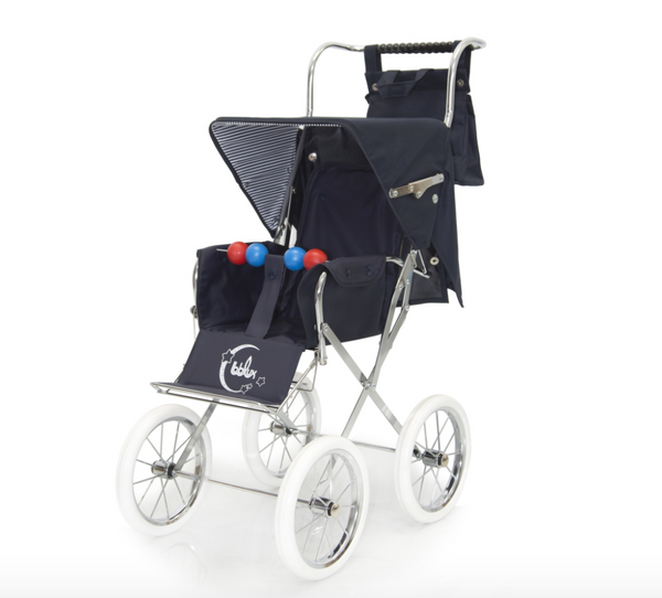 Spanish Classic Big Doll's Pram In Navy