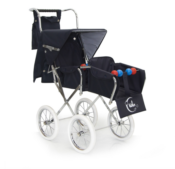 Spanish Classic  Big Doll's Twin Pram In Navy