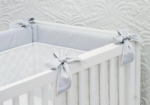 First Crystal Grey Cot Bumper - Liquorice Kids