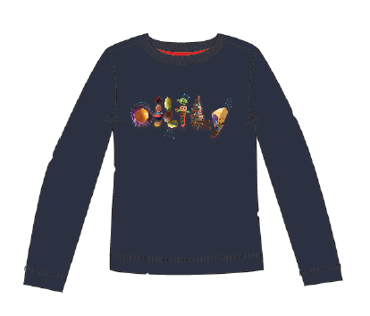 PRE-ORDER AW19 Oilily Girls Tsjonge T-Shirt Long Sleeve 58 Plain Blue With Potato Fun