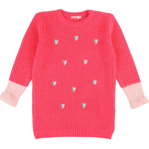 AW19 Billieblush Girls Pink Heart Chunky Knit Dress
