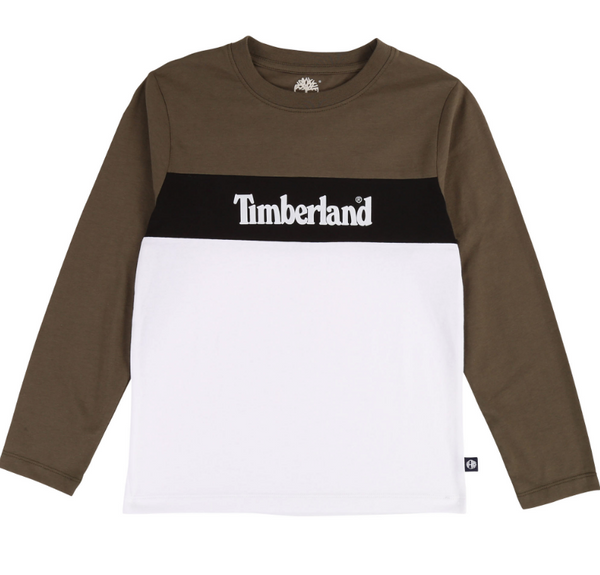 AW19 Timberland Boys Khaki & White Long Sleeved Top