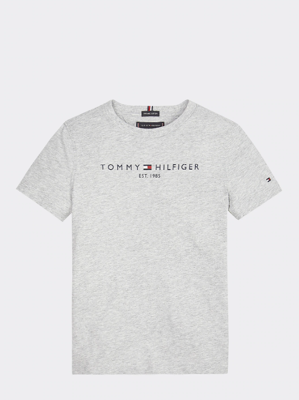 AW19 Tommy Hilfiger Boys Grey Heather Logo T-Shirt
