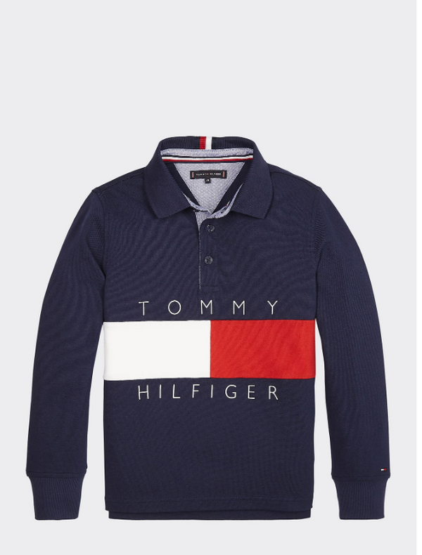 AW19 Tommy Hilfiger Boys Flag Logo Navy Blue Polo Top