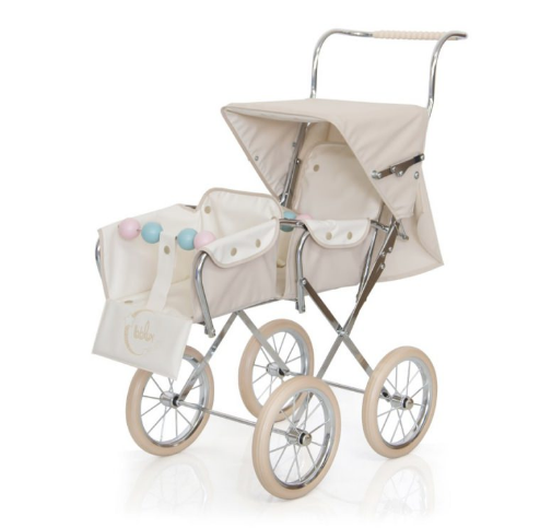 BebeLux Spanish Classic Big Doll's Twin Pushchair In Beige